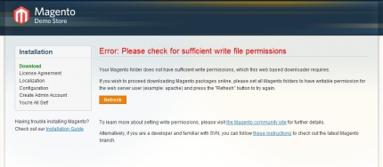 Your Magento folder does not have sufficient write 