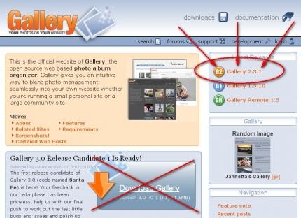Der richtige Link zum Paket G2 Gallery 2.x