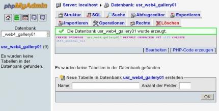 PhpMyAdmin: Datenbank anlegen