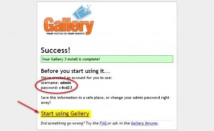 Erfolg der Gallery3 Installation