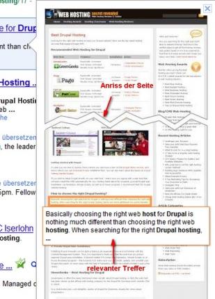 Anriss-Passagen bei langen scrollenden Websites