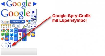 Google Spry-Grafik mit Lupensymbol