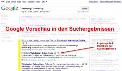 Google Vorschau Symbol Lupe in den Suchergebnis Treffern
