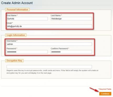 HIer wird ein Admin-Account angelegt