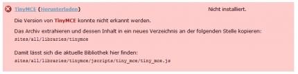 TinyMCE Fehlermeldung bei der Wysiwyg Konfiguration in Drupal